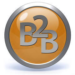 B2B circular icon on white background