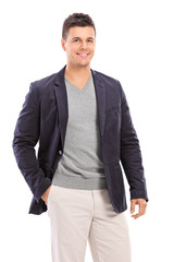 Fashionable guy posing isolated on white background