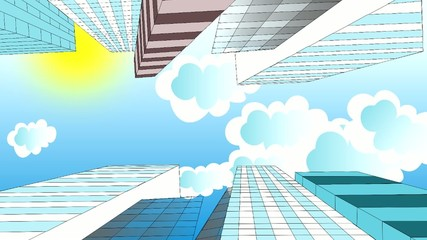 The clouds are flying in the sky over skyscrapers, animation