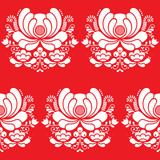 Norwegian folk art seamless white pattern on red background - 74942860