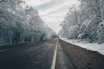 A snowy road