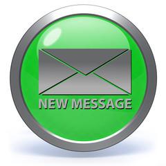 new mesage circular icon on white background