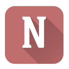 Letter n alphabet, flat icon