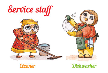 Owls and Dishwasher cleaner. Vector watercolor set.
