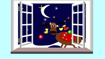 Cute Christmas reindeer looking through the open window