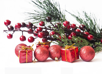 Christmas Greeting with Red Gifts and Balls