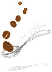 coffee beans folling in spoon