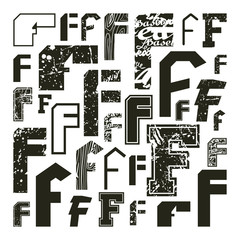 Set versions of letters F