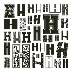 Set versions of letters H