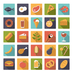 Flat design food and drink square vector icons set