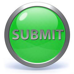 Submit circular icon on white background