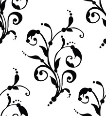 Seamless floral black pattern - vector