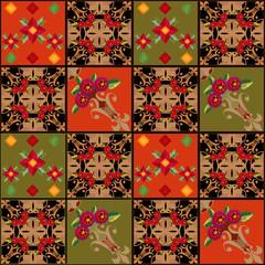 Patchwork seamless pattern geometric elements background