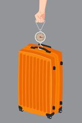 Hand luggage measurement using steelyard weight vector.