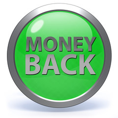 Money back circular icon on white background