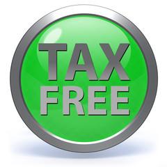 Tax free circular icon on white background