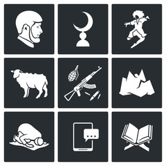 Islam in Chechnya Vector Icons Set
