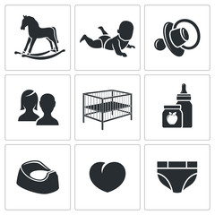 Raising a child Vector Icons Set