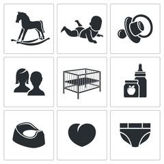 Raising a child Vector Icons Set