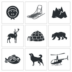 Chukchi and the Far North Vector Icons Set