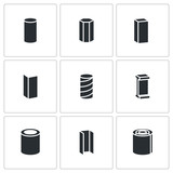 Metallurgy products Vector Icons Set poster