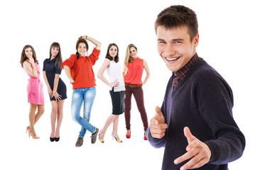 Flirting boy portrait with group girls