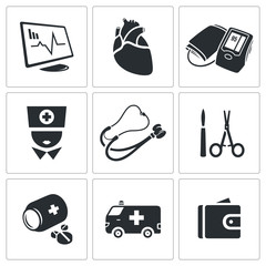 Heart disease, hospital Vector Icons Set