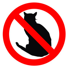 No Cats Allowed in Black and Red