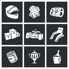 Auto Racing Vector Icons Set