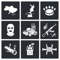 The situation in Ukraine Vector Icons Set