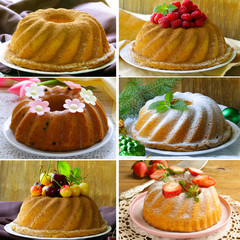 collage of different kinds of round cake