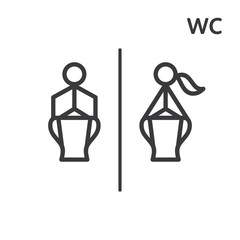 Toilet vector sign