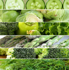 collage of different green vegetables