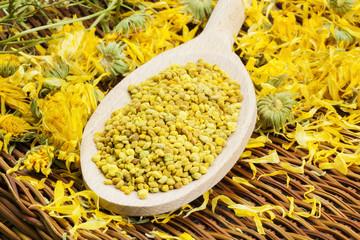 Bee pollen grains with dry yellow calendula around
