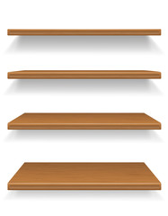 wooden shelves vector illustration
