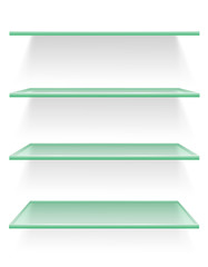 transparent glass shelf vector illustration