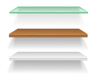 shelves made of different materials vector illustration