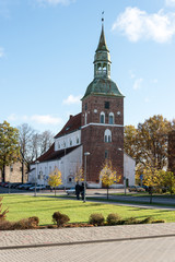 aerial view of rural church in latvia. valmiera