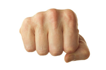 isolated right human fist on white background
