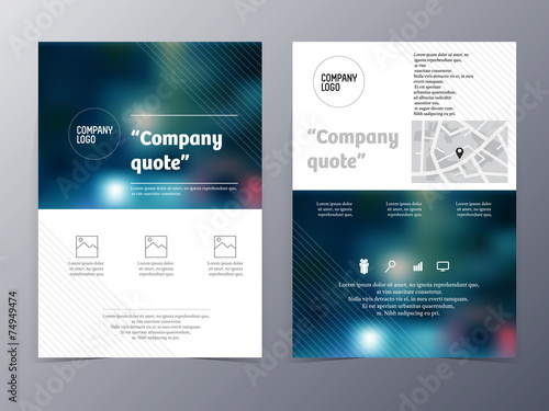 blue graphic design element flyer template - 74949474