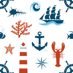 sea theme seamless pattern