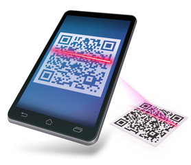 Mobile device scanning QR-code