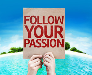 Follow Your Passion card with beach background