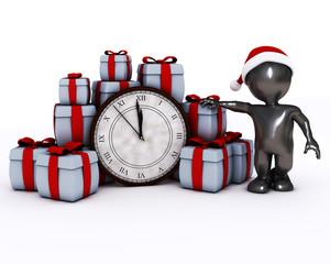 3D Santa Morph Man with clock before midnight