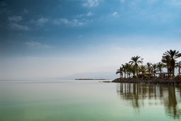 Kinneret, Galilee sea, Israel, Tiberias lake with palms