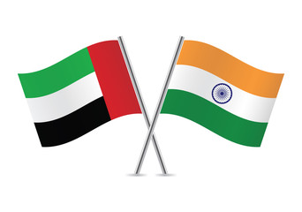 United Arab Emirates and Indian flags. Vector illustration.