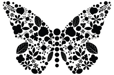 Ornate floral butterfly - vector
