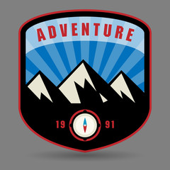 Mountain adventure label or sign, vector