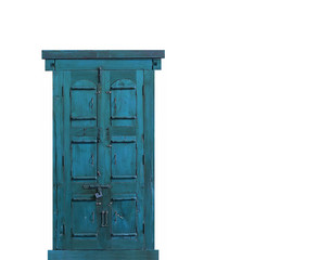 aqua door on white
