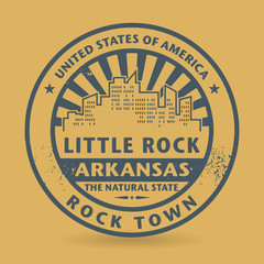 Grunge rubber stamp with name of Little Rock, Arkansas